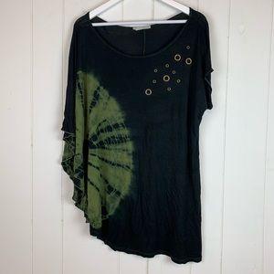 Maurices Blouse 0X Plus Size Black Green Tie Dye